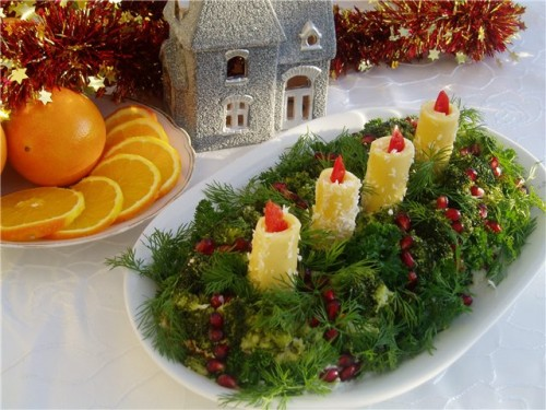 Edible Christmas candles: salads and appetizers for new year's table