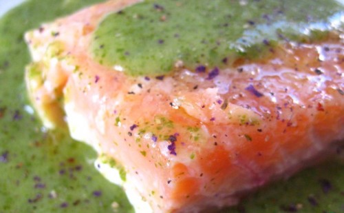 Salmon marinated with cream sauce in French