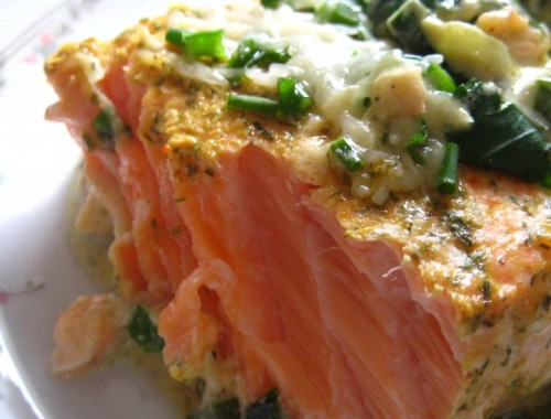 Salmon in French, marinated and baked