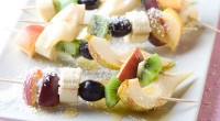 Skewers of fruit under the