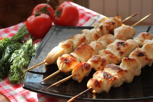 Skewers of chicken - the fastest barbecue