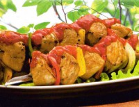 Skewers of vegetables and Turkey