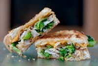 Sandwich with chicken, broccoli and cheese