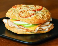 Sandwich with chicken and apple