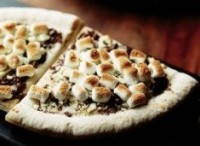 Sweet baby pizza with chocolate, pineapple and apples