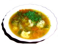 Vegetable soup with hovagim language