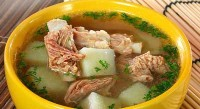Soup with potatoes and pork ribs
