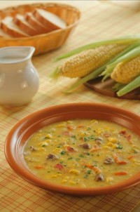 Soup with corn and bacon (beef broth)