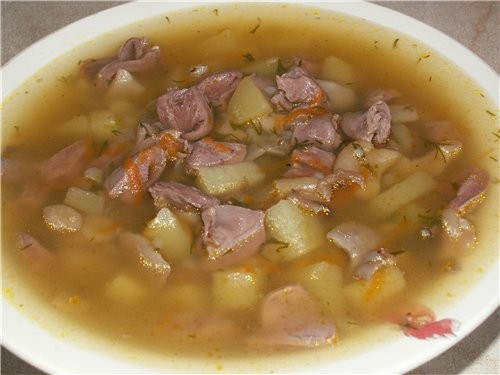 picture - Soup with chicken hearts in multivarka
