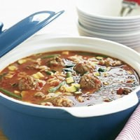 Soup with pasta, vegetables and meatballs Italian