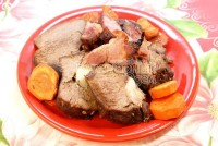 Veal with ham and carrots
