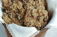 Traditional Finnish oatmeal cookies with raisins