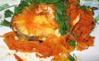 picture - Stewed with onions and bell peppers fish