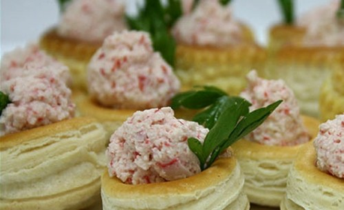Vol AU vents with a salad of crab sticks