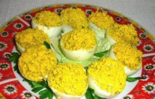 Appetizer of stuffed with pate eggs