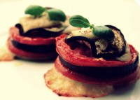 Appetizer vegetable diet with eggplant, tomatoes and cheese