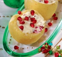 Baked with cheese apples with pomegranate