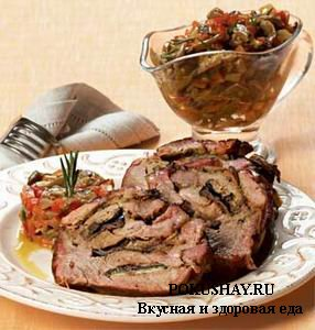 Baked neck with vegetables and mushroom saute
