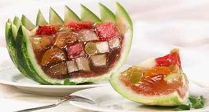 Fruit jelly in watermelon